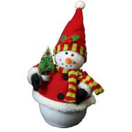 Snowman with Santa Hat Holding Tree - 42.5cm
