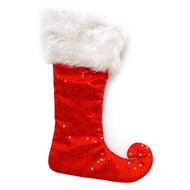 Red Elf Felt Stocking with Sequins
