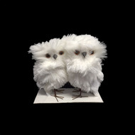 Pair of White Fluffy Owls - 12cm