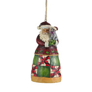 Jim Shore Santa with Cat Hanging Ornament - 12cm