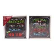 Chalk Foiled Christmas Cards - 10pk