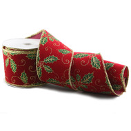 Red Holly Glittered Christmas Ribbon - 10m