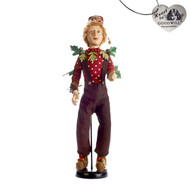 Red & Green Woodland Elf Doll w/ Stand