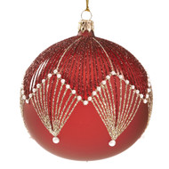 Red/Gold Glass Pearl Fan Ornament   -  Goodwill