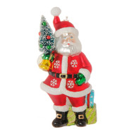 Santa with Tree Glass Ornament-9cm