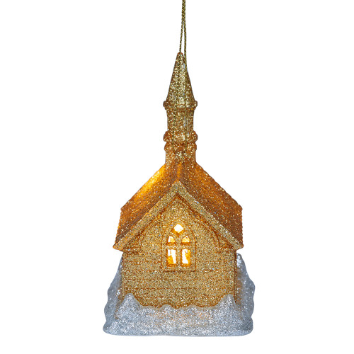 Gold Light-Up Church Hanging Ornament