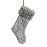 Fabric Stocking Silver Demask
