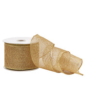 Gold Glittered Mesh Ribbon - 10m