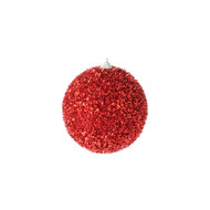 Red Tinsel Ball Ornament