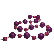 Purple & Pink Glittered Bauble Garland - 170cm