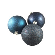 Pack of 6 Blue + Grey Textured Baubles - 80 mm