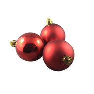 Pack of 24 Shiny & Matte Red Baubles - 60mm