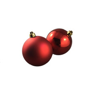 Pack of 12 Shiny & Matte Red Baubles - 80mm