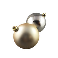 Shiny & Matte Champagne Baubles - 80 mm