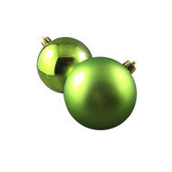Pack of 12 Shiny & Matte Lime Green Baubles-80 mm