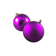 Pack of 12 Shiny & Matte Violet Baubles - 80mm