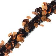 Black and Orange Halloween Tinsel with Pumpkins - 5 metres
