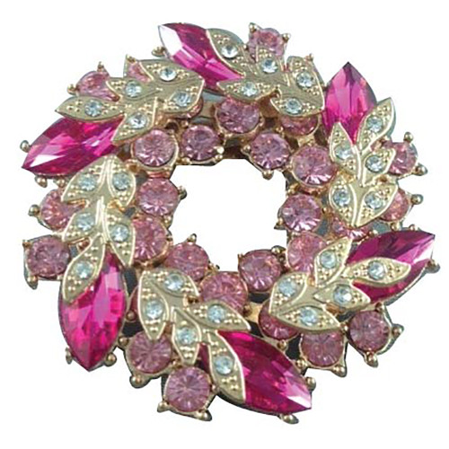 Jewelled Brooch Pink and Gold
