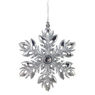 Silver Jewelled Flower Hanging Ornament - 13 cm