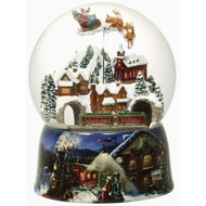 Musical Glitterdome with Santa in Sleigh