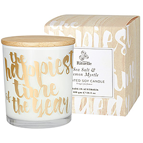Sea Salt & Lemon Myrtle Scented Soy Candle