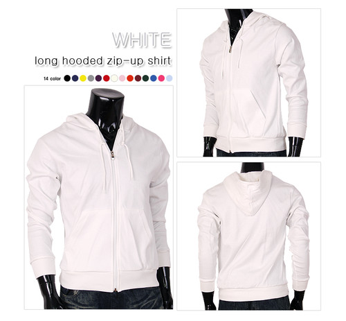 White hoodie t-shirt yellow cotton t-shirt zip-up hoody