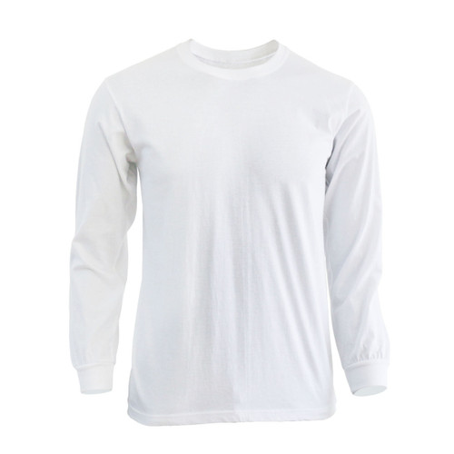 Basic White Blue Crew Neckline Long Sleeves Cotton T-Shirt
