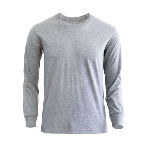 Basic Gray Blue Crew Neckline Long Sleeves Cotton T-Shirt