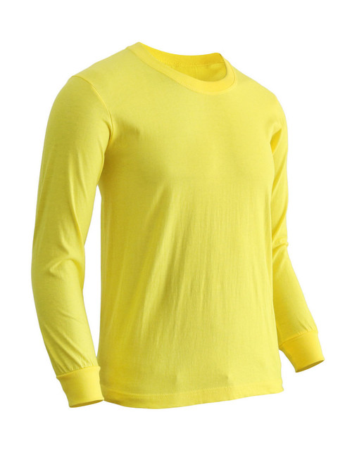 Basic Yellow Blue Crew Neckline Long Sleeves Cotton T-Shirt