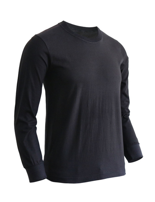 Basic Black Crew Neckline Long Sleeves Cotton T-Shirt