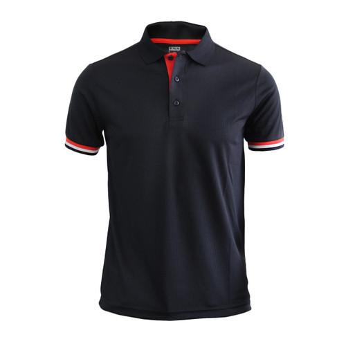 Coolon line point Polo t-shirt, short sleeve-black