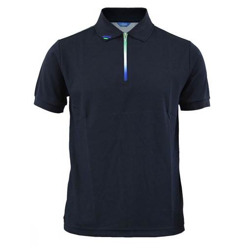 Cooling polo zip-up neck t-shirt short sleeves-black