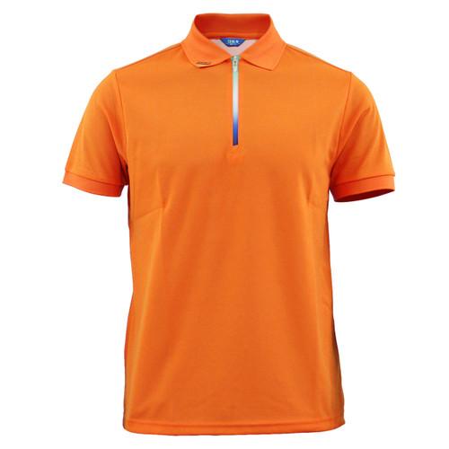 Cooling polo zip-up neck t-shirt short sleeves-orange