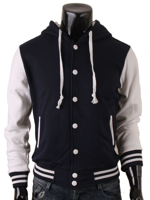 Men's Hoodie Baseball Jacket Sweatshirt Jacket Varsity Letterman Jacket Navy Baseball Jacket