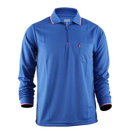 Men's Zip Polo Shirt Blue Polo Shirt Long Sleeves Zip Polo shirt
