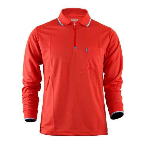 Men's Zip Polo Shirt DRI FIT Zip Polo Shirt Plain Zip Polo shirt Long Sleeves Shirt