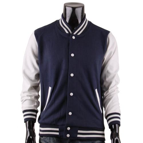 Bcpolo Men's Navy Baseball Jacket Varsity Jacket Letterman Cotton Baseball Jacket