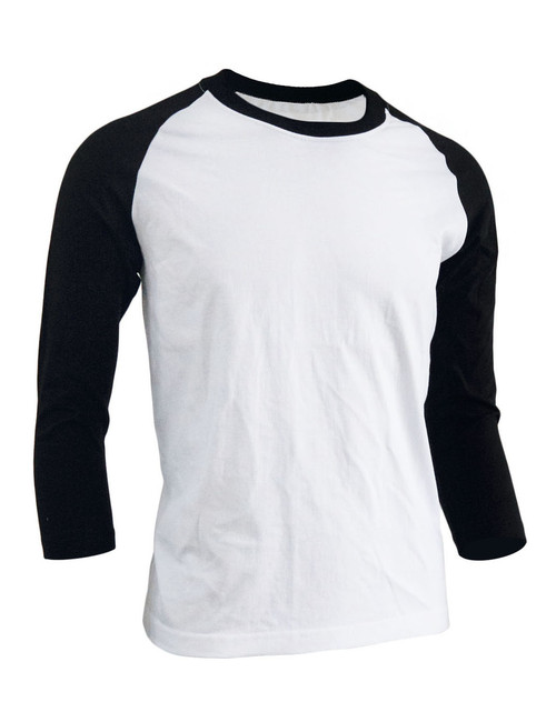 BCPOLO Unisex casual round neck t-shirt 3/4 sleeve 2 tone color Raglan t-shirt cotton comfortable t-shirt.-black