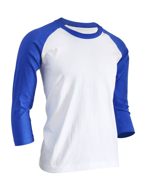 BCPOLO Unisex casual round neck t-shirt 3/4 sleeve 2 tone color Raglan t-shirt cotton comfortable t-shirt.-blue