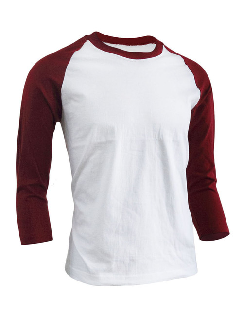 BCPOLO Unisex casual round neck t-shirt 3/4 sleeve 2 tone color Raglan t-shirt cotton comfortable t-shirt.-maroon
