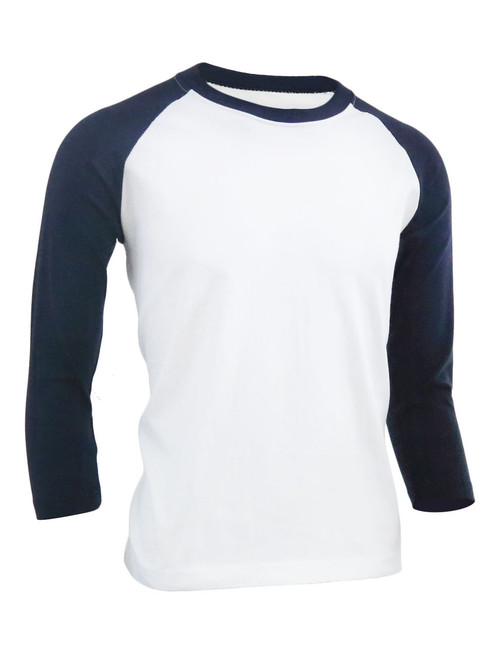 BCPOLO Unisex casual round neck t-shirt 3/4 sleeve 2 tone color Raglan t-shirt cotton comfortable t-shirt.-navy