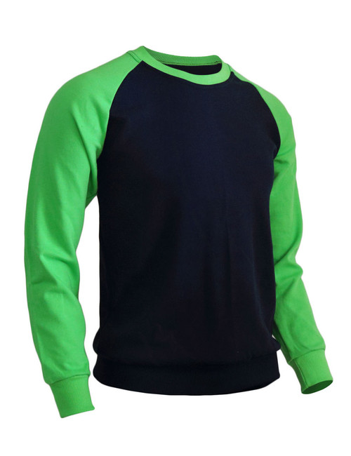 BCPOLO Men's Casual raglan 2 tone color t-shirt sportswear fashion crew neck cotton shirt.-green t-shirt