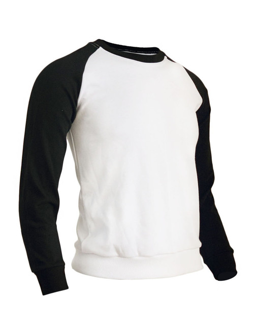 BCPOLO Men's Casual raglan 2 tone color t-shirt sportswear fashion crew neck cotton shirt.-black t-shirt