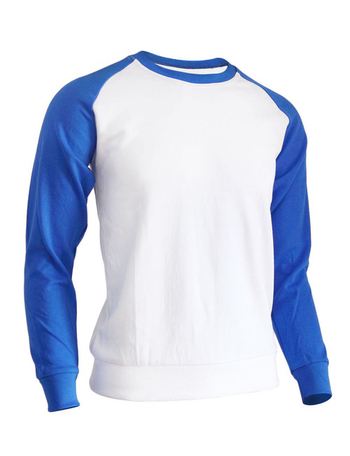 BCPOLO Men's Casual raglan 2 tone color t-shirt sportswear fashion crew neck cotton shirt.-blue t-shirt