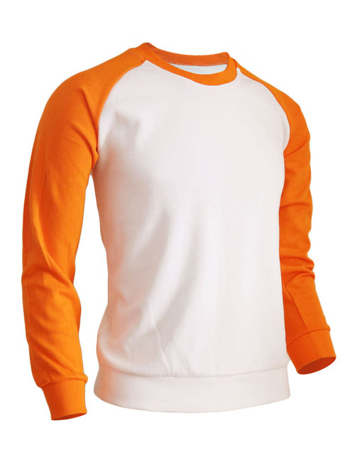 BCPOLO Men's Casual raglan 2 tone color t-shirt sportswear fashion crew neck cotton shirt.-orange t-shirt