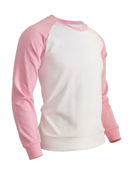 BCPOLO Men's Casual raglan 2 tone color t-shirt sportswear fashion crew neck cotton shirt.-pink shirt