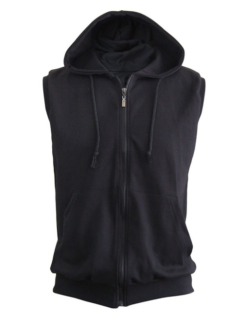 Casual Sleeveless Plain Full-Zipper hoodie jacket_black