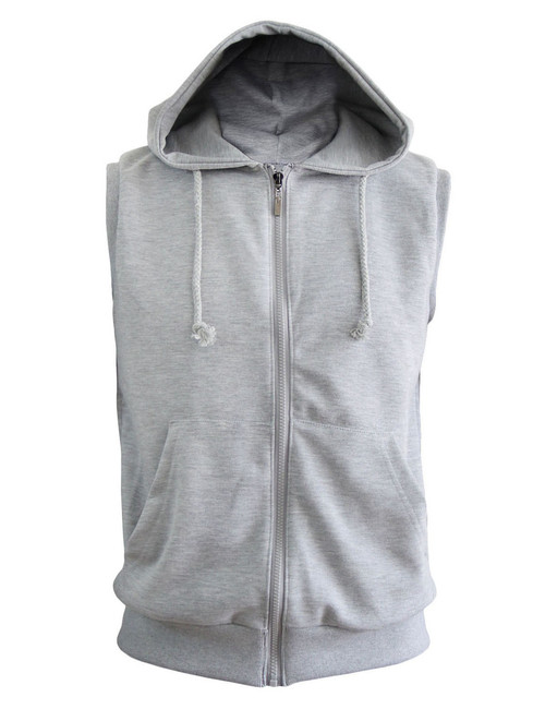 Casual Sleeveless Plain Full-Zipper hoodie jacket_gray