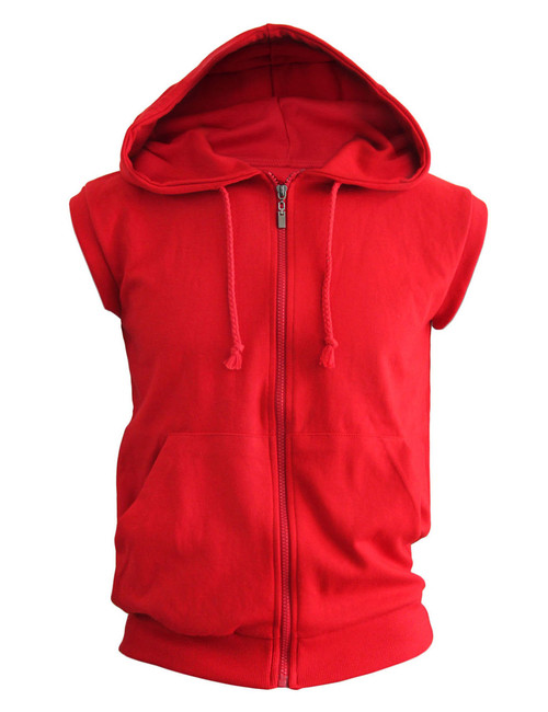Casual Sleeveless Plain Full-Zipper hoodie jacket_red
