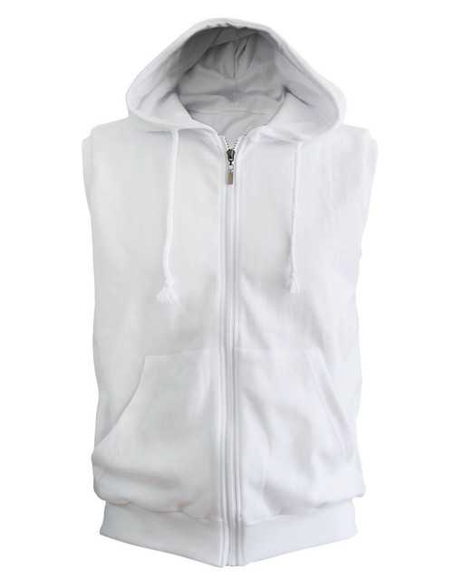 Casual Sleeveless Plain Full-Zipper hoodie jacket_white